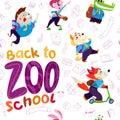 Vector seamless pattern with animal students - hedgehog, bunny girl, crocodile, sibainu dog, fox