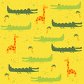 Vector seamless pattern with animals: giraffe, crocodile