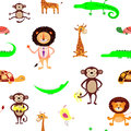 Vector seamless pattern with animals.
