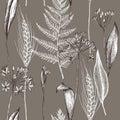 Vector seamless pattern of autumn plants pattern. Hand drawn vector illustration