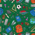 Vector seamless pattern with Back to school colorful design elements. Education stationery supplies and tools isolated on green Royalty Free Stock Photo