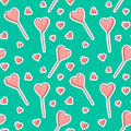 Vector seamless pattern background with stickers hearts and Popsicle. Pink textured ice cream or candy lollipops in the shape of a Royalty Free Stock Photo