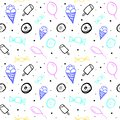 Vector seamless pattern with balloons and different sweets