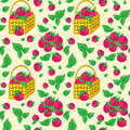 Vector seamless pattern with baskets Royalty Free Stock Photo