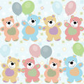 Vector seamless pattern with bears for baby Stock Images