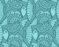 Vector seamless pattern with beautiful hand drawn fishes