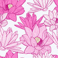 Vector seamless pattern with beautiful pink lotus flower. Floral Royalty Free Stock Photo