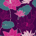 Vector seamless pattern with beautiful pink lotus flower and gre Royalty Free Stock Photo