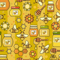 Vector seamless pattern. Beekeeping product. Included bee, honey