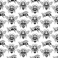 Vector seamless pattern with bees, leaves and flowers. Black and yellow texture.