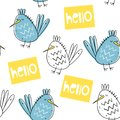Vector seamless pattern with birds. Scandinavian style. Cute baby printr