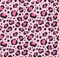 Vector seamless pattern of black leopard dots print fur on pink background