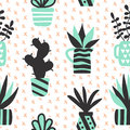 Vector seamless pattern with black succulents and houseplants in vase