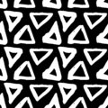 Vector seamless pattern. Black and white painted watercolor points, dots, lines, strips.