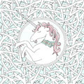 Vector seamless pattern with blackthorn and hand drawn cute unicorn