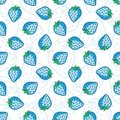 Vector seamless pattern with blue strawberries. Royalty Free Stock Photo