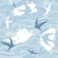 Vector seamless pattern in blue  tones. Swallows in the sky