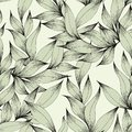 Vector seamless pattern with branches and leaves. Hand drawing. Decorative pattern for the design