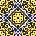 Vector seamless pattern with bright ornament. Tile in Eastern style.