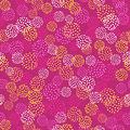 Vector seamless pattern with brush blots .Yellow white orange color on pink background. Hand painted grange texture. Ink