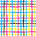 Vector seamless pattern brush cross and cell. yellow blue pink color on white background. Hand painted grange texture