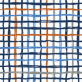 Vector seamless pattern brush stripes plaid. Blue orange color on white background. Hand painted grange texture. Ink Royalty Free Stock Photo