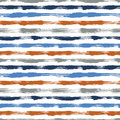 Vector seamless pattern with brush stripes and strokes. Blue orange color on white background. Hand painted grange Royalty Free Stock Photo