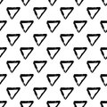 Vector seamless pattern with brush triangle and strokes. Black color on white background. Hand painted grange texture Royalty Free Stock Photo