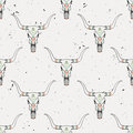 Vector seamless pattern with bull skull and ethnic ornament Royalty Free Stock Photo