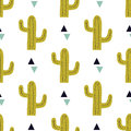 Vector seamless pattern with cactuses and triangles