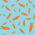 Vector seamless pattern with carrots in cartoon flat style on blue background
