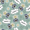 Vector seamless pattern with cartoon camera Royalty Free Stock Photo