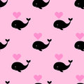 Vector seamless pattern with a cartoon whale with heart fountain