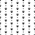 Vector seamless pattern with cat paw dog paw, hearts. Black and white background