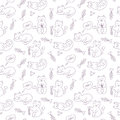 Vector seamless pattern with cats Royalty Free Stock Photo