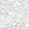 Vector Seamless Pattern: Chinese Buddhist Background, Outline Drawings, Black and White Illustration.