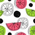 Vector seamless pattern with citrus fruits. Scandinavian motives. Drawing by hand. Cute print