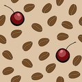 Vector seamless pattern - coffee beans and cherry Stock Image