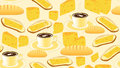 Vector seamless pattern with coffee cups, bread, butter, cheese and sandwiches