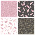 Vector seamless pattern collection. Feather and diamonds,gems,crystals. Stylish,trendy,fashionn pattern set.