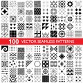 100 vector seamless pattern collection, geometric universal patterns, tiles and wallpapers - big pack Royalty Free Stock Photo