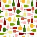 Vector seamless pattern with color silhouette wine bottles Royalty Free Stock Photo