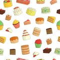 Vector seamless pattern of colored cakes