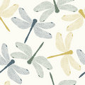 Vector Seamless Pattern with Colored Dragonflies Royalty Free Stock Photo