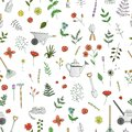 Vector seamless pattern of colored garden tools, flowers, herbs, plants.