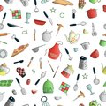 Vector seamless pattern of colored kitchen tools. Repeat background with isolated colorful cutlery, spatula, whisk, knife, spoon,