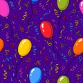 Vector seamless pattern with colorful balloons and confetti over purple background.