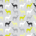 Vector seamless pattern with colorful deers different Royalty Free Stock Images