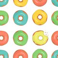 Vector seamless pattern of colorful doughnuts