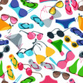 Vector seamless pattern with colorful hand drawn sunglasses, swimsuits and flip flops. Royalty Free Stock Photo